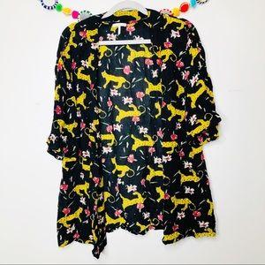 UO  leopard print graphic open kimono